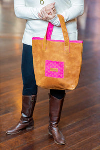 Everyday Rugged Leather Handbag - Protea Pink