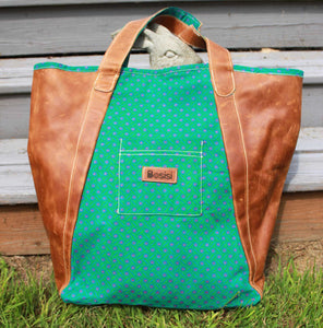 Weekender Overnight Leather Travel Duffel Bag - Aloe Green