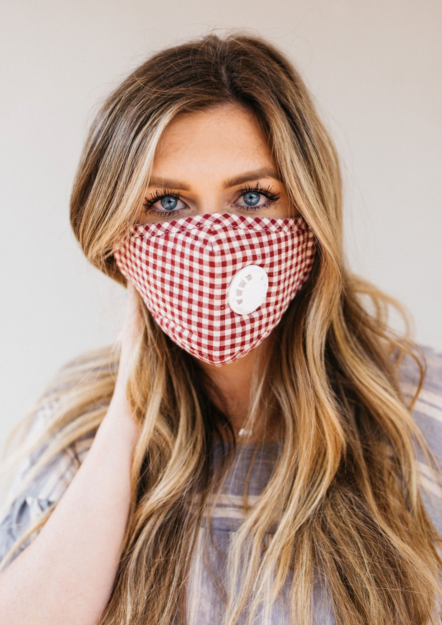 Red Gingham Breathable Vented Mask
