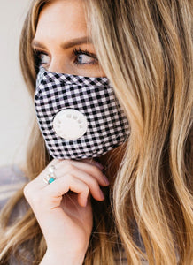 Black Gingham Breathable Vented Mask