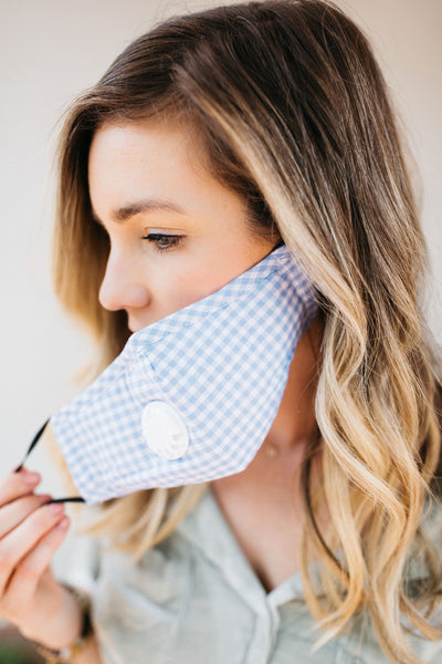 Blue Gingham Breathable Vented Mask