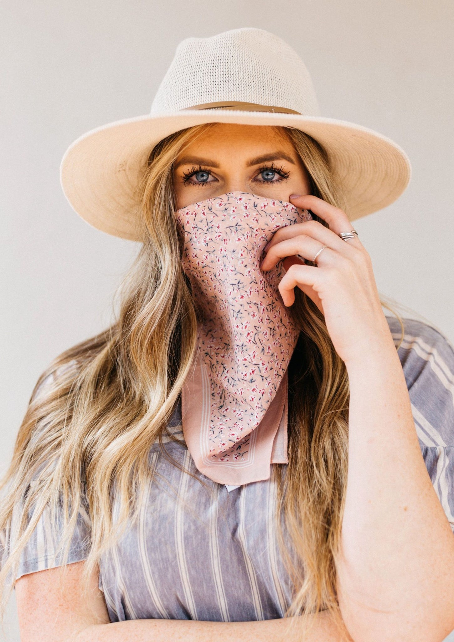 Boho Bandana Face Mask Rose