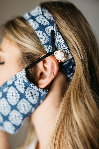 Bandana Navy Face Mask Headband Combo