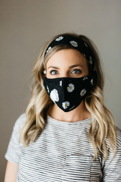 Floral Black Face Mask Headband Combo
