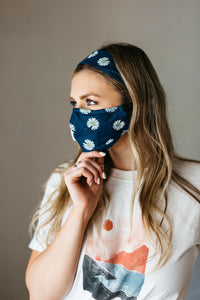 Floral Navy Face Mask Headband Combo