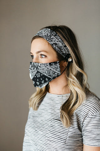 Bandana Black Face Mask Headband Combo