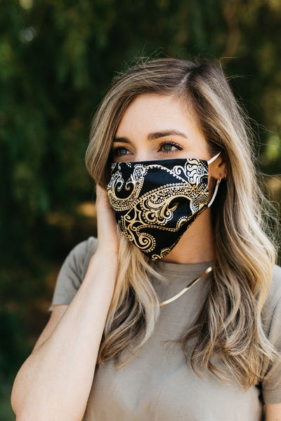 Black Paisley Satin Face Mask
