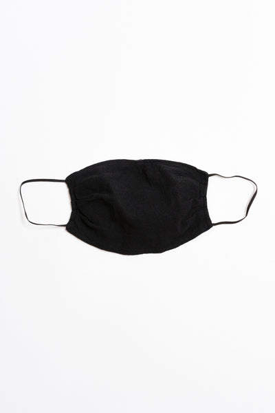 Black Textured Face Mask with Black Elastic