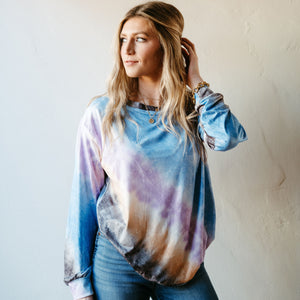 Blue Rainbow Tie Dye Soft Top