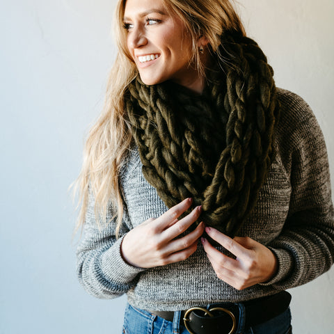 Olive Thick Knit Infinity Scarf