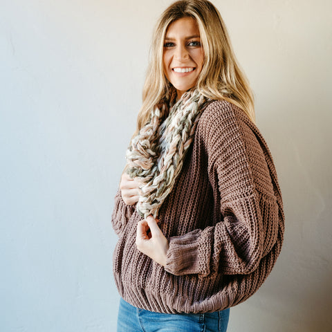 Rose Thick Knit Infinity Scarf