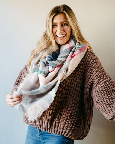 High Street Blanket Scarf - Light Pink