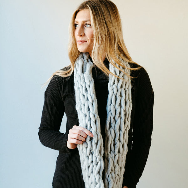 Light Gray Thick Knit Infinity Scarf