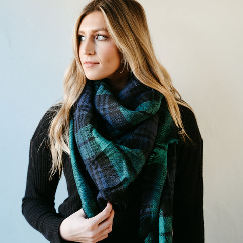 High Street Blanket Scarf - Green