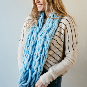 Light Blue Thick Knit Infinity Scarf