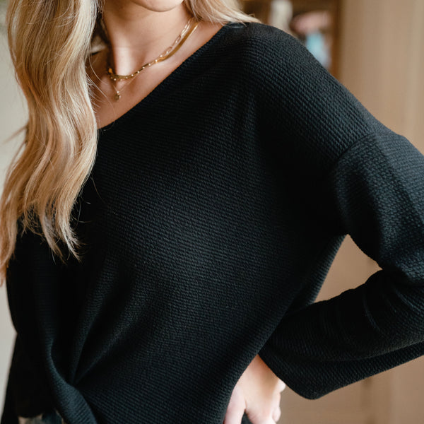 Aspen Textured Top Black