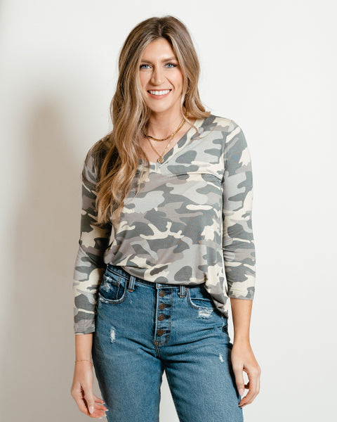 Camo 3/4 Sleeve Top Dusty