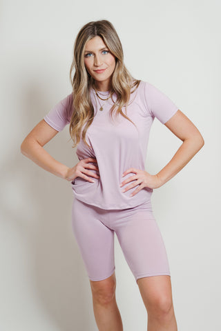 Ultra Soft Biker Short Set Lavender