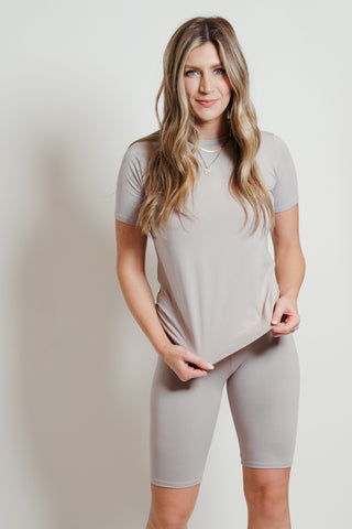 Ultra Soft Biker Shorts Set Grey