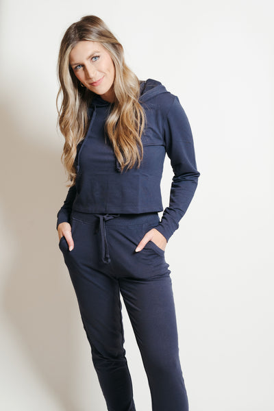 French Terry Hoodie-Jogger Lounge Set Navy