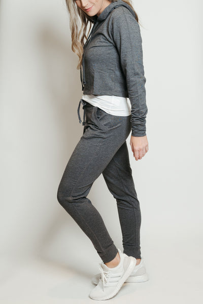 French Terry Hoodie-Jogger Lounge Set Charcoal