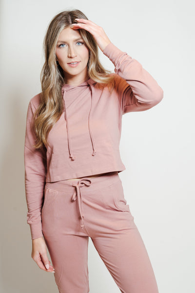 French Terry Hoodie-Jogger Lounge Set Mauve
