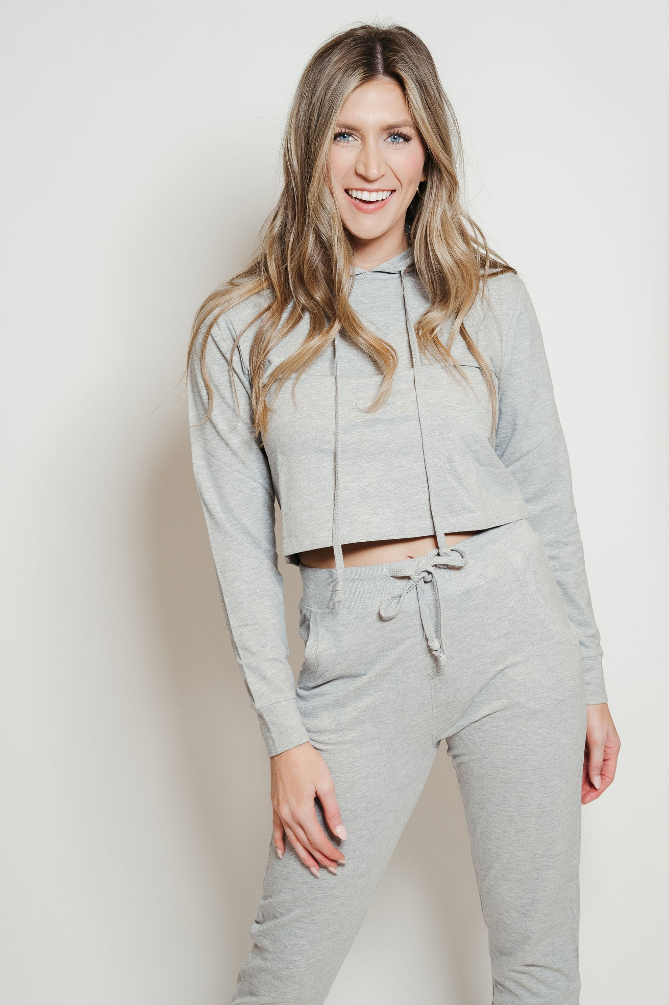 French Terry Hoodie-Jogger Lounge Set Heather Grey