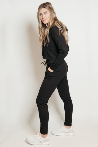 French Terry Hoodie-Jogger Lounge Set Black