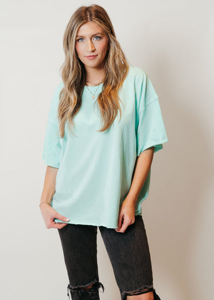 French Terry Raw Edge Comfort Top Mint