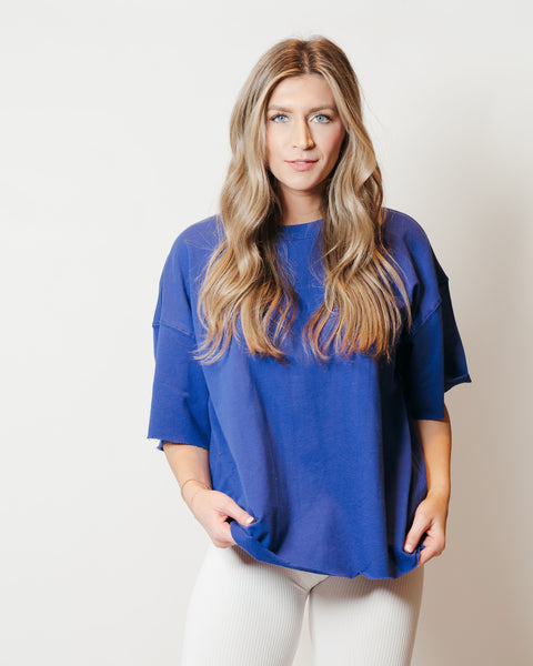 French Terry Raw Edge Comfort Top Bright Blue