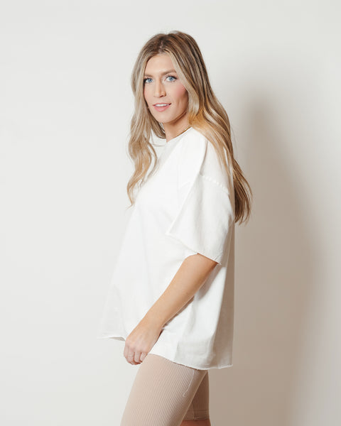 French Terry Raw Edge Comfort Top White