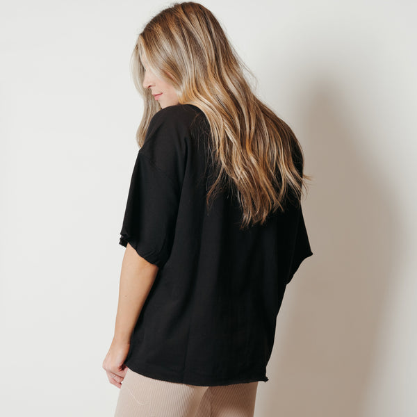French Terry Raw Edge Comfort Top Black