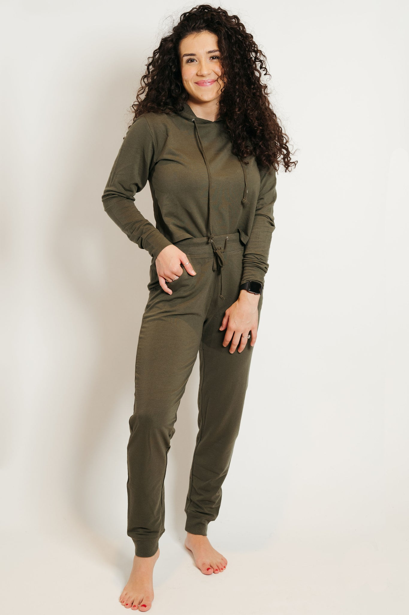 French Terry Hoodie-Jogger Lounge Set Olive