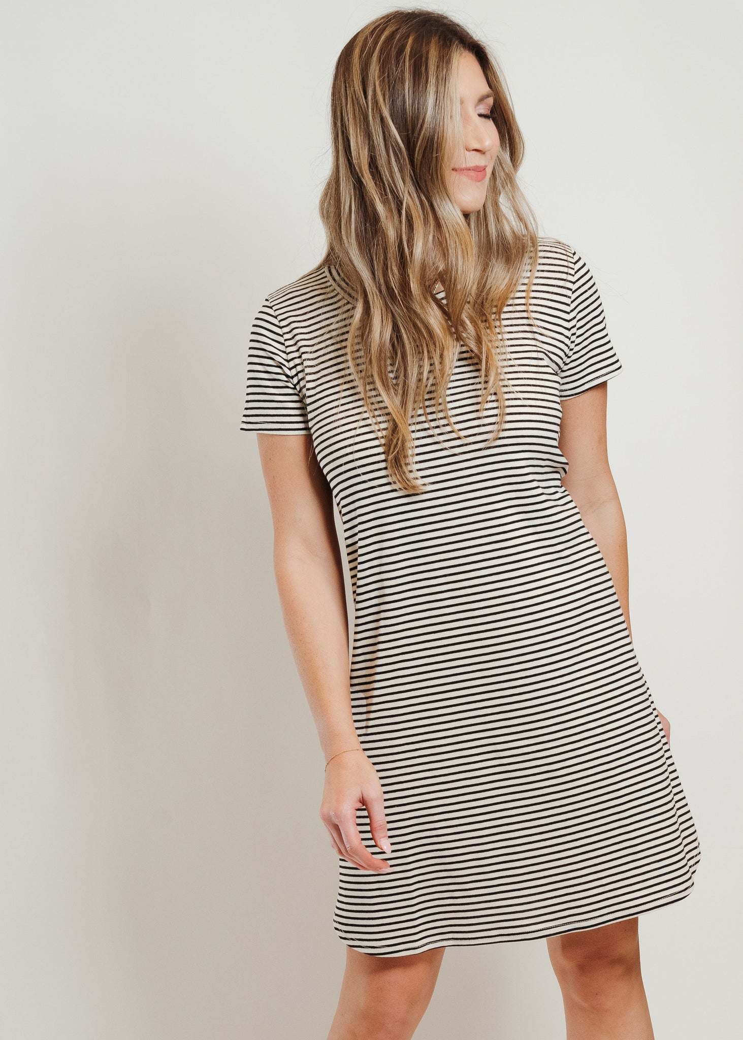 Striped T-Shirt Dress Black