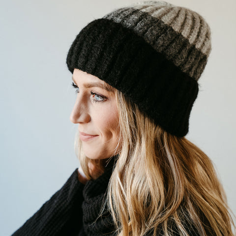 Gray/Black Colorblock Beanie