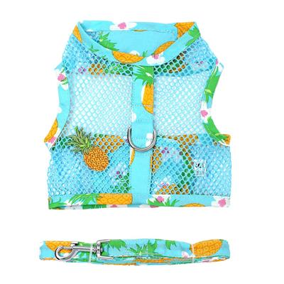 Pineapple Luau Cool Mesh Harness w/ Leash & D-Ring - Bark Fifth Avenue