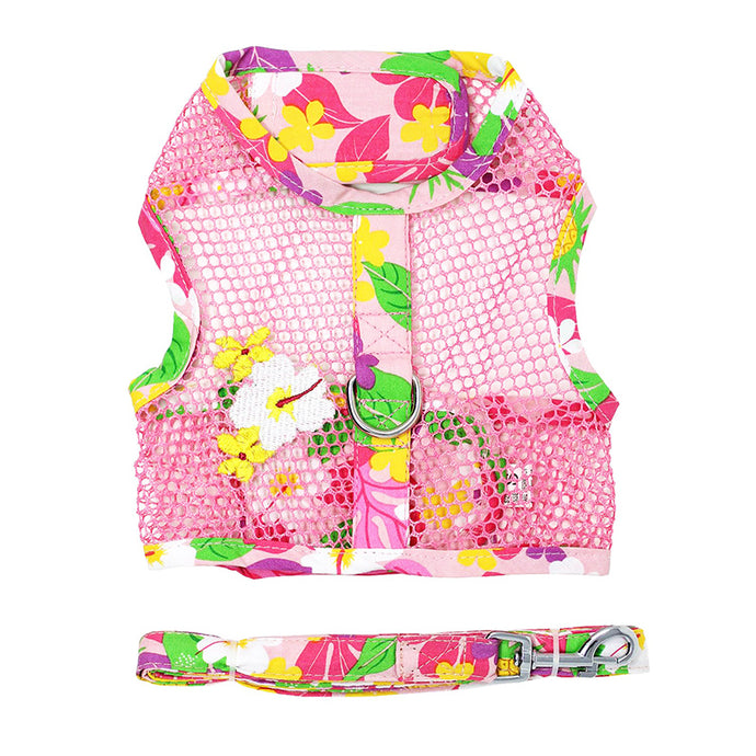 Pink Hawaiian Floral Cool Mesh Harness w/ Leash & D-Ring - Bark Fifth Avenue