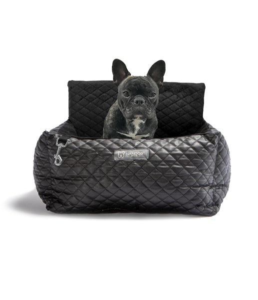 CAR SEAT QUILTED VEGAN BLACK LEATHER AND INTERIOR DARK GRAY