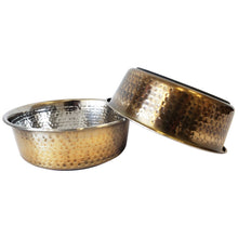 Load image into Gallery viewer, Antique Brass Hammered Design, Dish Washer Safe Dog Bowl
