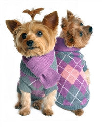 Argyle Purple Plaid & Scarf Sweater - Bark Fifth Avenue