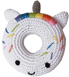 Knit Knacks Unicorn Doughnut Organic Cotton Small Dog Toy