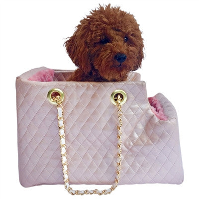 Kate Carrier in Quilted Pearl Pink with Chain Straps - Bark Fifth Avenue