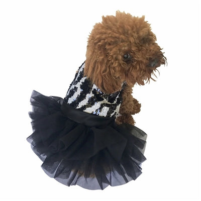 Zebra Sequins Fufu Tutu Dog Dress - Bark Fifth Avenue