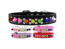 Load image into Gallery viewer, Double Crystal with Rainbow Spikes Dog Collar - Bark Fifth Avenue