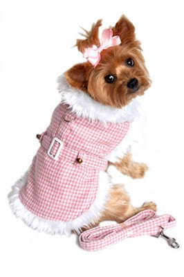 Pink Houndstooth Coat & Leash - Bark Fifth Avenue