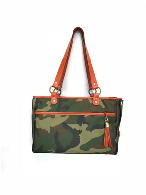 Camouflage Tote - Orange Leather Trim - Bark Fifth Avenue