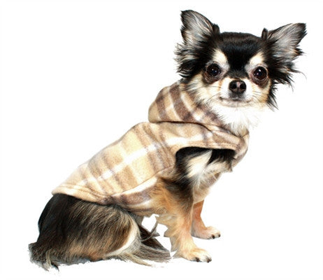 Tan Plaid Polar Fleece Hoodie - Bark Fifth Avenue