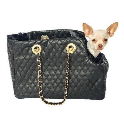 Kate Carrier in Quilted Black with Chain Straps - Bark Fifth Avenue