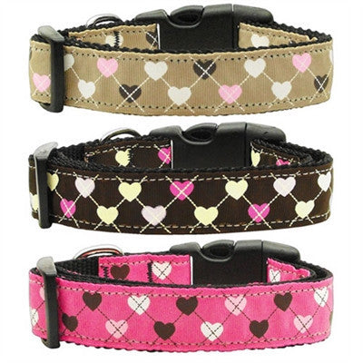 Argyle Hearts Nylon Collars - Bark Fifth Avenue