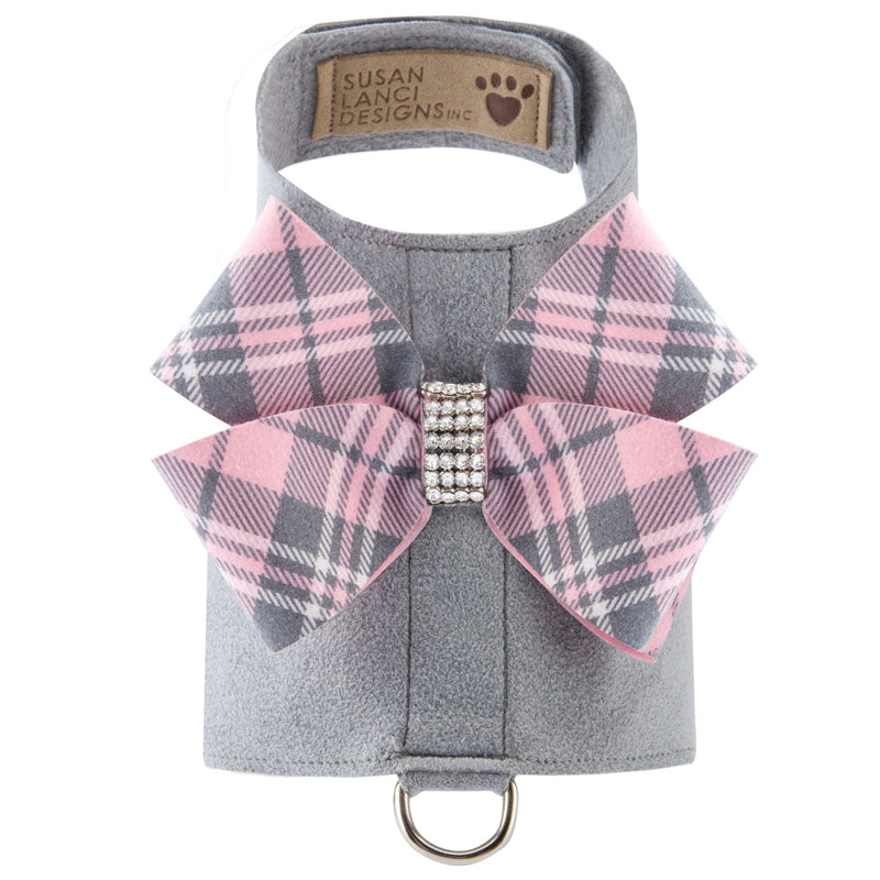 Scotty Bailey Harness Puppy Pink Plaid Nouveau Bow - Bark Fifth Avenue